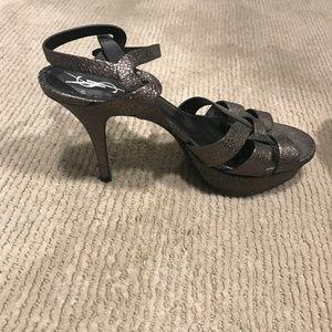 YSL Bronze Metallic Heel